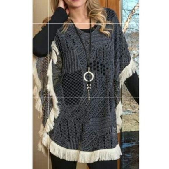Lace fabric poncho with fringe NWT NWT